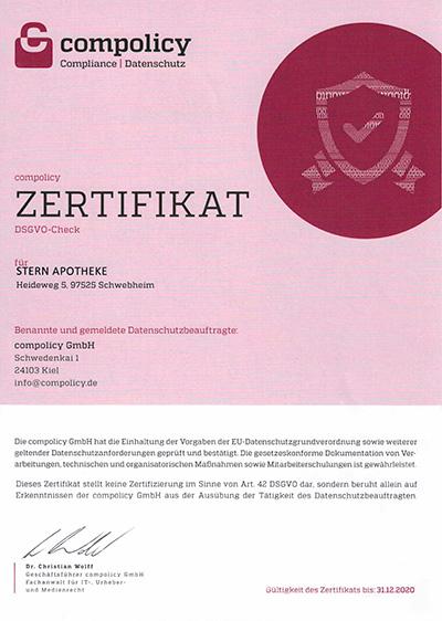 Stern-Apotheke Schwebheim ist Datenschutz zertifiziert